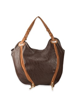 Brown Double Zipper Front Style Bag - Lino Perros