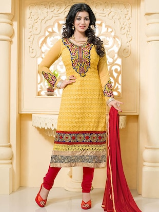 yellow georgette embroidered dress material