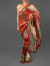 Jacquard Border Abstract Print Georgette Saree - Jmilan