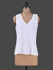 Sleeveless White Lace Cotton Top - By