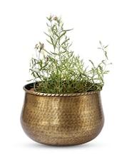 Brass U-shape Textured Planter - Magnolia Kreations