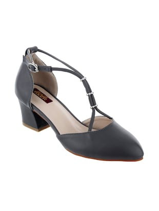 grey leatherette block heel sandal