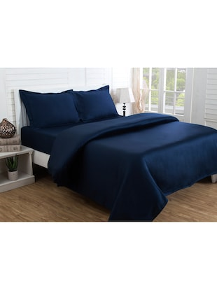 blue cotton bed sheet set