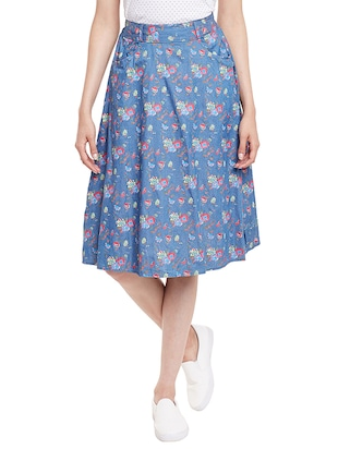 light blue floral printed cotton  skirt