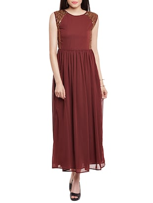 brown sequined georgette maxi dress