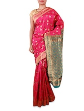 Pink Embroidered Cotton Silk Saree - By