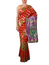 Red Embroidered Cotton Silk Saree - INDI WARDROBE