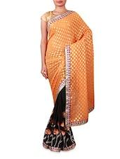 Orange And Black Embroidered Georgette Saree - INDI WARDROBE