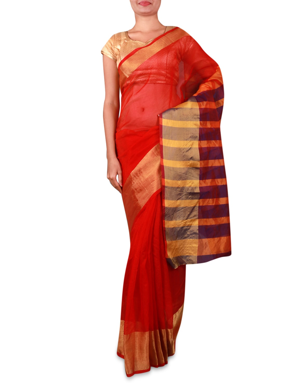 Red Cotton Silk Saree With Striped Aanchal - INDI WARDROBE