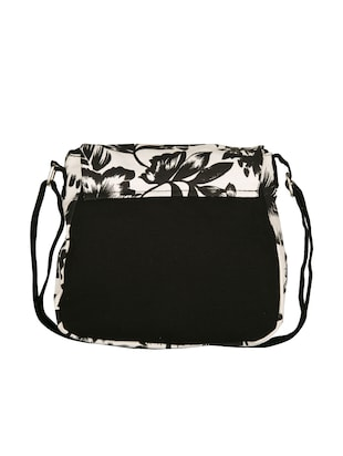 black floral printed canvas sling bag - 11734763 - Standard Image - 2