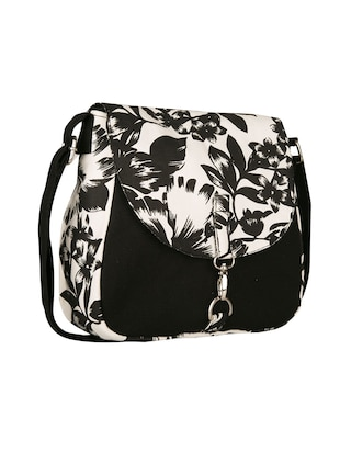 black floral printed canvas sling bag - 11734763 - Standard Image - 5