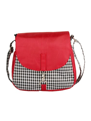 red leatherette check printed sling bag - 11734883 - Standard Image - 1