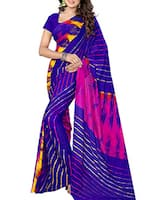 Blue chiffon leheriya saree -  online shopping for Sarees
