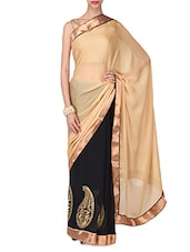 Beige And Black Poly Georgette And Silk Satin Saree - By