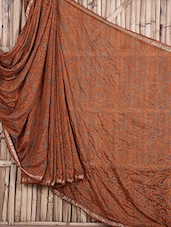 Rust Bandhej Art Silk Saree - Maandna