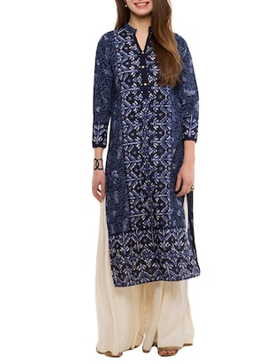 navy blue printed cotton straight kurta