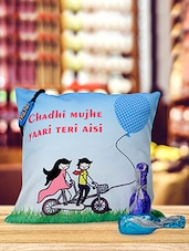 """"""" Chadhi ���. Aisi """" Printed Cushion With Bottled Chocolate Combo - Amigos By Thinking Of You"""