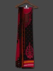 Black Printed Crepe Unstitched Dress Material - PARISHA
