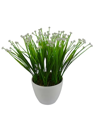 Thefancymart Artificial Flowers Grass flowers bush plant  (size 8 inchs/ 20 cms) with round white pot-0330-957