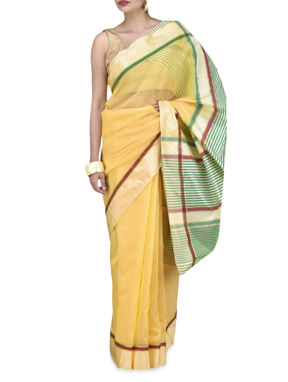 Yellow Art Silk Zari Worked Saree - By