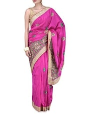 Pink Art Silk Zardosi Embroidered Saree - By