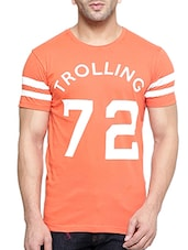 orange cotton printed t-shirt -  online shopping for T-Shirts