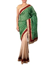 Green And Beige Cotton Silk Saree - By