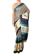Blue And Beige Printed Art Silk Saree - By