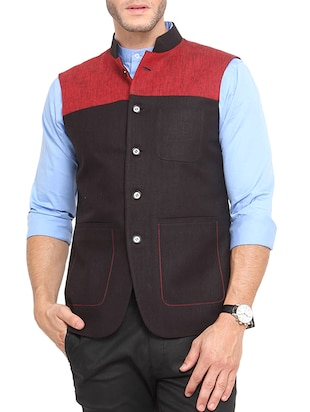 black cotton nehru jacket