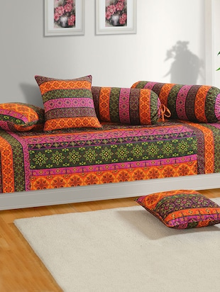 Set of 6 Orange and Green Colour Enthnic and Floral Diwan Set with Bolster and Cushion Covers