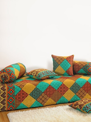 Set of 6 Turquoise and Brown Colour Square Patch Geometrical Pattern Diwan Set with Bolster and Cushion Covers