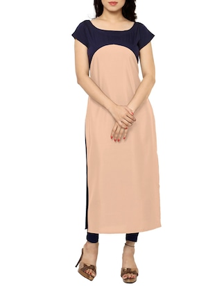 peach faux crepe straight kurta