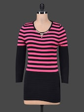 Horizontal Striped Long Sleeves Top - By