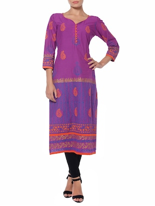 purple cotton aline kurta