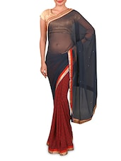 Navy Blue And Maroon Georgette Saree - Inddus