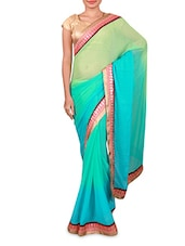 Blue And Green Georgette Saree - Inddus