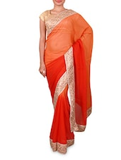 Red And Orange Embroidered Georgette Saree - By