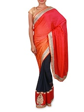 Navy Blue And Pink Embroidered Georgette Saree - Inddus