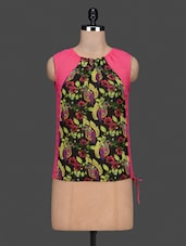 Floral Print Gathers At Neck Georgette Top - Citrine