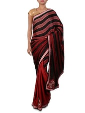 Red Embroidered Designer Georgette Saree - Shonaya