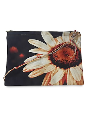 Peach and Yellow Floral Print Sling Bag