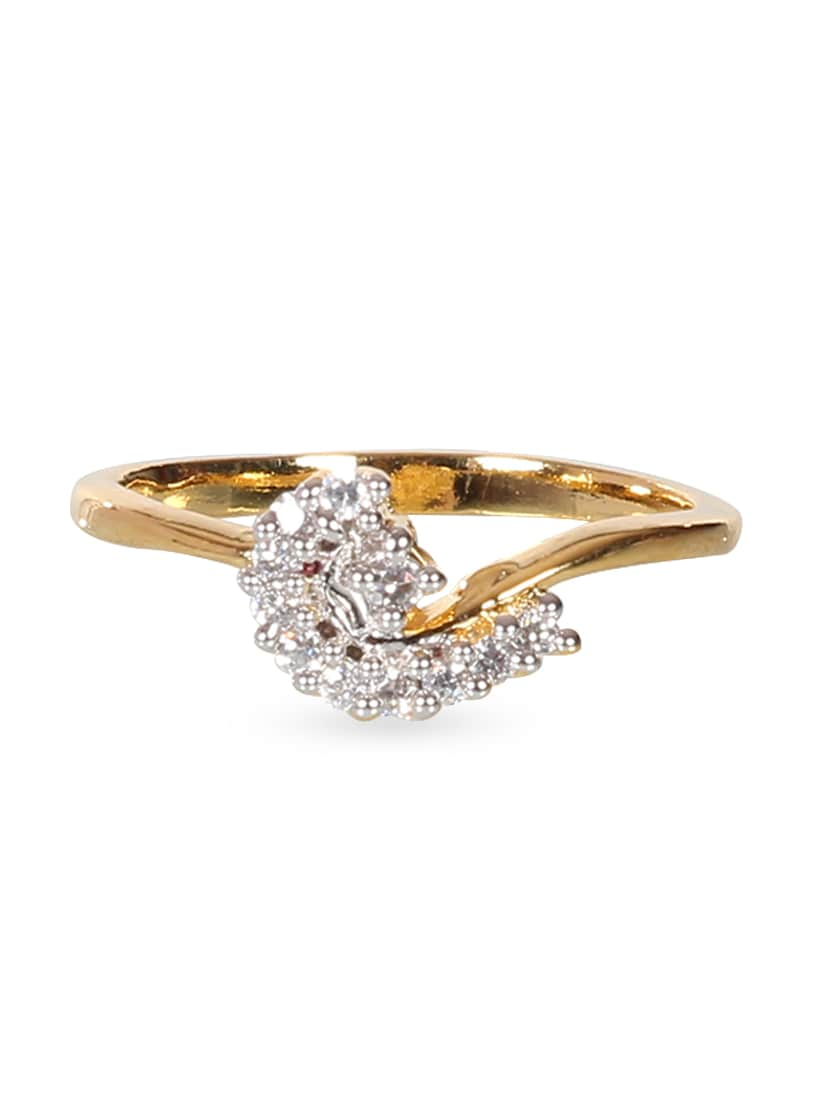 Zirconia Studded Gold Plated Ring - By - 1178353