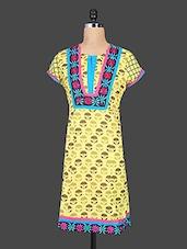 Short Sleeve Embroidered Printed Kurti - Reet