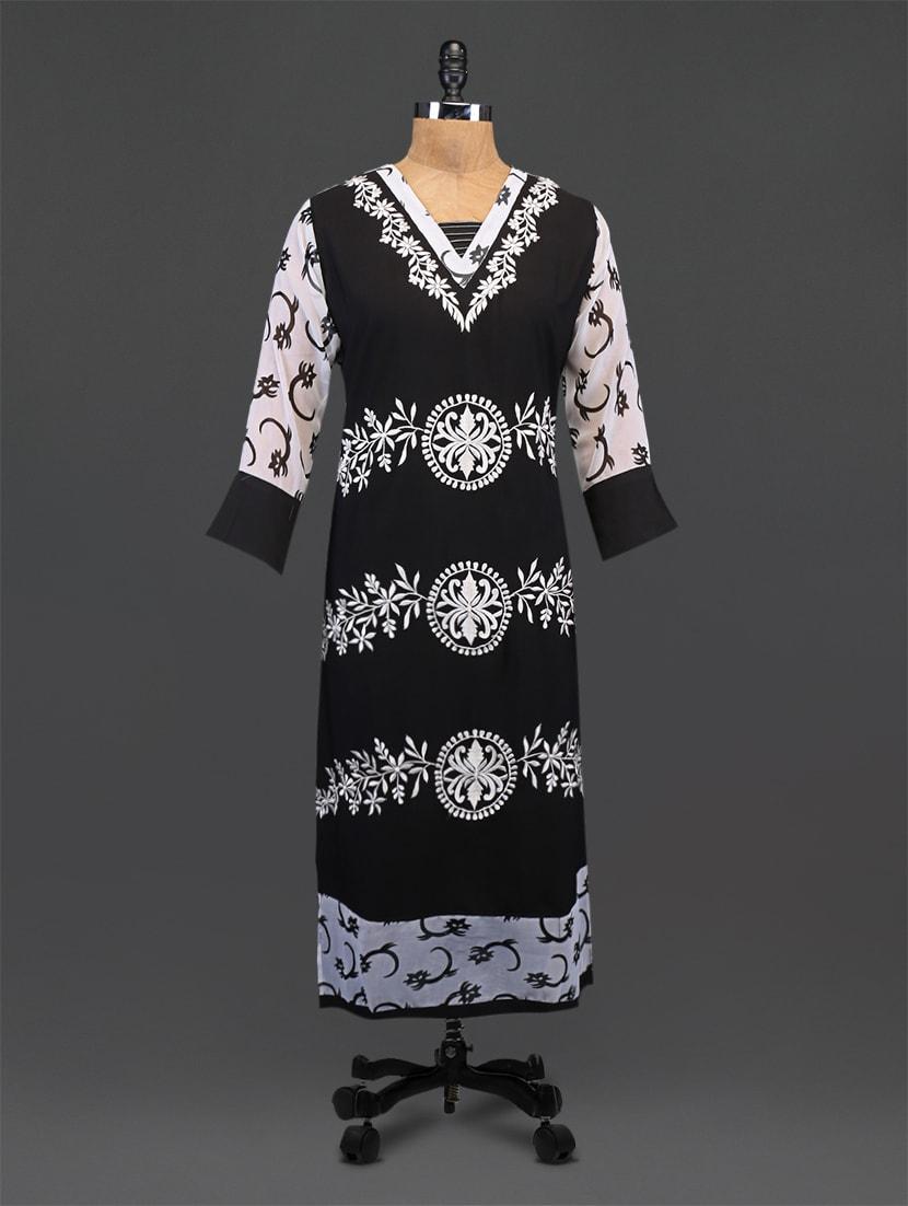 Black Embroidered Printed Georgette Kurta - By