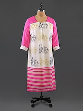 Pink Embroidered Printed Georgette Kurta - By