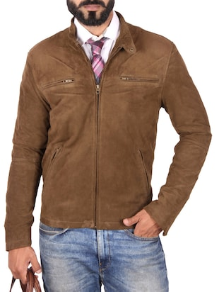 brown leather formal jacket
