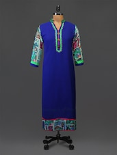 Blue Embroidered Printed Georgette Kurta - By