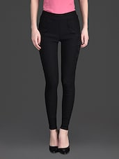 Solid Color Laced Pocket High Waist Black Leggings - 10th Planet