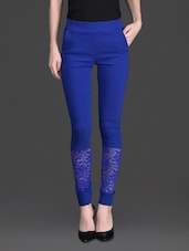 Solid Color Lacy Bottom High Waist Blue Legging - 10th Planet