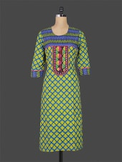 Green And Blue Printed Cotton Kurti - By